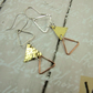 Triangle Earrings, Sterling Silver, Copper and Brass Dangle Geometric Earrings