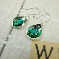 Earrings,  Sterling Silver, Rock Pool Teardrop with Ink & Resin