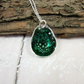 Sterling Silver Necklace, Rockpool Teardrop Pendant with Ink and Resin