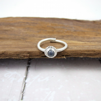 Sterling Silver and Deep Blue Dumortierite Ring, Adjustable Fit, Freesize