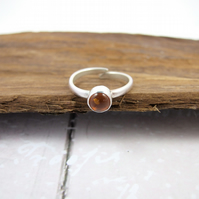 Sterling Silver and Amber Ring, Adjustable Fit, Freesize
