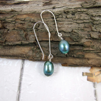 Earrings, Sterling Silver Long Drop Teal Potatoe Pearls