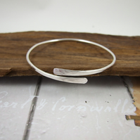 Sterling Silver Simple Hammered  Bangle, Adjustable Fit, Wrap Bracelet