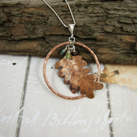 Oak Leaf Necklace, Copper and Sterling Silver with Garnet, Aquamarine & Peridot