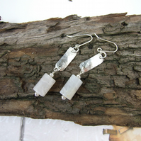 Sterling Silver Long Drop White Agate Earrings