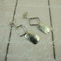 Sterling Silver Rectangle Earrings with Scrolled Stud Fittings