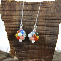 Earrings, Sterling Silver Mixed Gemstone Bead