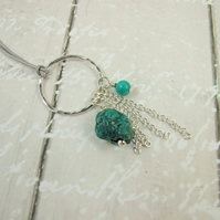 Turquoise Necklace, Sterling Silver BoHo Adjustable Length Tassel Necklace