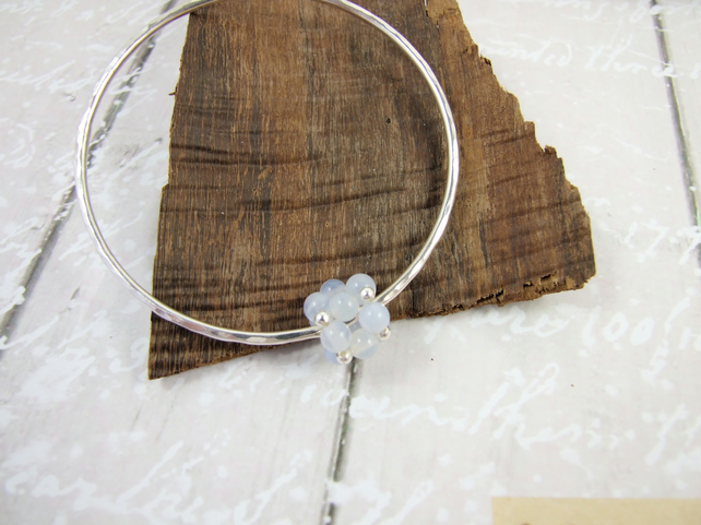 Sterling Silver Hammered Bangle with Blue Lace Agate Beaded Bead