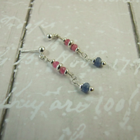 Earrings, Pink and Blue Sapphire with Sterling Silver