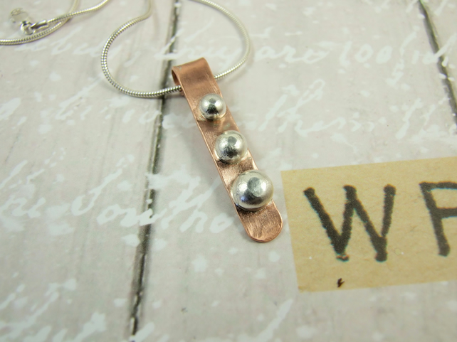 Pebble Bar Pendant, Sterling Silver and Copper Bar Necklace