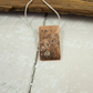 Art Necklace, Rectangle Copper Pendant Hand Stamped and Set with Ruby & Sapphire
