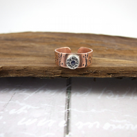 Ring Copper and Sterling Silver Decorated Band, Set with Sapphire Adjustable Fit