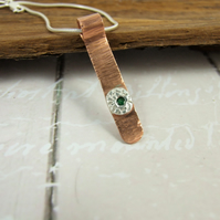 Emerald Pendant, Sterling Silver and Copper Bar Necklace Set with Gemstone