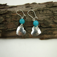 Earrings, Sterling Silver, Heart with Teal Jade, Dropper