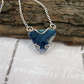 Sterling Silver, Necklace with Azure Agate Druzy Slice