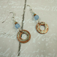 Earrings, Sterling Silver, Aquamarine and Silver Accent Copper Washers