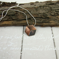 Cube Pendant, Sterling Silver, Copper & Bronze Geometric  Illusion Cube Necklace