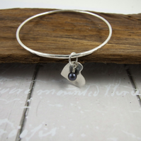 Sterling Silver Heart and Black Pearl Charm Bangle