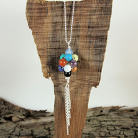 Mixed Gemstone Pendant, Sterling Silver Colourful Bunch of Balloons