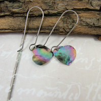 Earrings, Anodised Titanium, Aurora Heart Droppers