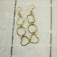 Geometric Shapes Earrings, Brass Dangle Geometric with 14ct Gold Filled Earwires