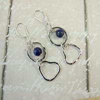 Earrings, Sterling Silver, Hammered Open Wire Heart & Circle with Lapis Lazuli