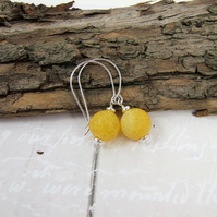Earrings, Sterling Silver Long Drop with Bright Yellow Frosted Crackle Agate