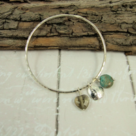 Sterling Silver Heart Charm Bangle with Smoky Quartz and Ocean Jasper