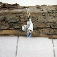 Sapphire and Heart Necklace, Fine and Sterling Silver Handcrafted Pendant