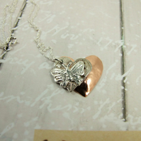 Butterfly Heart Necklace, Fine Silver and Copper Handcrafted Pendant