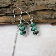 Earrings, Sterling Silver Long Drop Turquoise