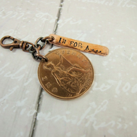 Keyring, Vintage 1929 Penny with Stamped Copper Bar, In for a Penny Bag Charm