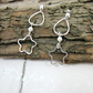 Earrings, Sterling Silver, Hammered Open Wire Star & Teardrop