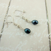 Earrings, Sterling Silver Dark Blue Pearls