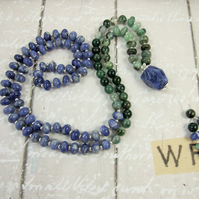 Mala Necklace, Emerald, Moss Agate, Sodalite and Silver 108 Mala Prayer Beads