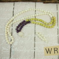 Mala Necklace, Amethyst, Jade, Shell and Silver 108 Mala Prayer Beads