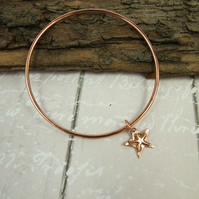 Copper Stacking Bangle with Starfish Charm
