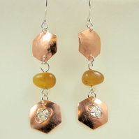 Honey Bee Earrings, Copper, Sterling Silver and Honey Opal Droppers
