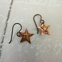 Earrings, Copper Starfish Droppers with Hypoallergenic Niobium Earwires