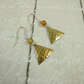 Earrings,  Brass & Sterling Silver Hammered Triangle Earrings, Christmas Trees