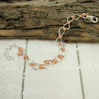 Bracelet, Sterling Silver and Copper Hand Forged Figure of 8 Chain Link Bracelet