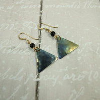 Earrings,  Anodised Blue Titanium, Goldstone and 14ct Goldfilled Earrings