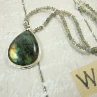Labradorite Necklace, Pear Labradorite set in Silver with Labradorite Necklet
