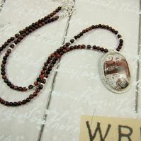 Crazy Lace Agate Necklace,  set in Silver with Red Tigers Eye Necklet