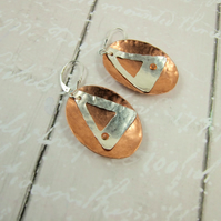 Silver Earrings, Copper Hammered Ovals with Sterling Silver Geometric Shape