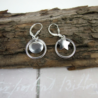 Sterling Silver Earrings, Moon and Star Hoop Dangle Earrings