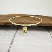 Brass Stacking Bangle with Personalised Initial Charm