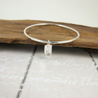 Silver Stacking Bangle with Personalised Initial Charm