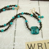 Necklace & Earrings, Blue Green Turquoise, Myuki Glass & 14ct Gold Filled